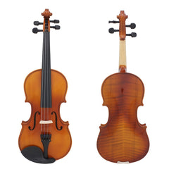 Full Size 4/4 Natural Acoustic Solid Wood  Violin Fiddle for Beginner Student Performer with Case Rosin