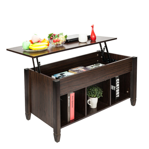 Lift Top Coffee Table with Hidden Storage Compartment & Shelf, Lift Tabletop Dining Table for Living Room, 19.2-24.6in H - Sculptcha