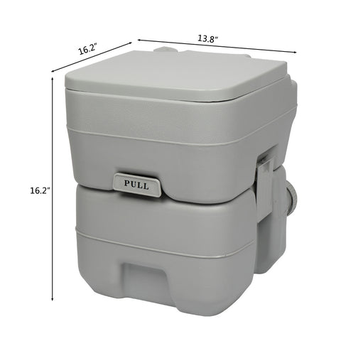 Outdoor Portable Toilet 5.3 Gallon Waste Tank  Flush Toilet for Camping, Travelling
