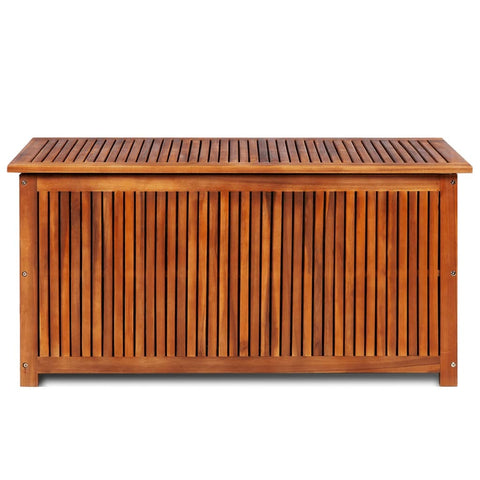 Deck Box in Acacia Wood with a water-repellent Tarpaulin , Wooden Patio Storage Box - Sculpcha