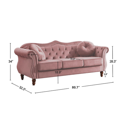Rose Pink Velvet Chesterfield Tufted Loveseat Lounge,  80.7'' Rolled Arm Sofa
