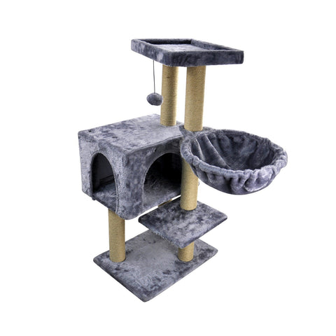 Cat Tree with Jute-Covered Scratching Posts, Cat Tower, Cat Condo, Gray - Sculptcha