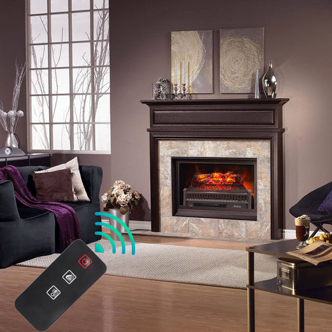 "Eternal Flame Electric Fireplace Logs, 23"" Remote Control Fireplace Insert Log Heater, Realistic Ember Bed, Thermostat, Timer, 1400W Black"