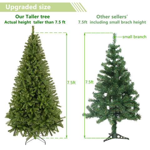 Full 7.5 Feet Unlit Artificial Full 1450 Tips Branch Christmas Pine Tree with Sturdy Metal Legs