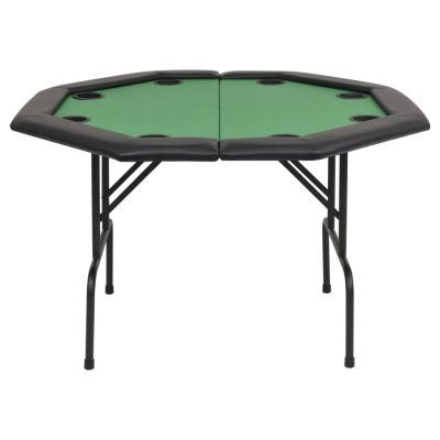 Poker Game Table w/Stainless Steel Cup Holder for 8 Player w/Leg, Octagon Casino Leisure Table Top Texas Hold'em Poker Table