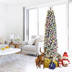 7.5 ft Snow Flocked Artificial Pencil Christmas Tree