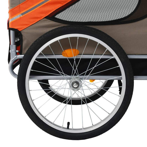 Dog Bike Trailer Cargo Cart Carrier Bicycle Pet Stroller Trailers for Pets, Orange and Brown