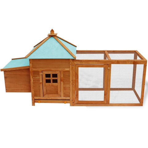 Outdoor Wooden Chicken Coop Hen House Poultry Cage w/ Wire Fence