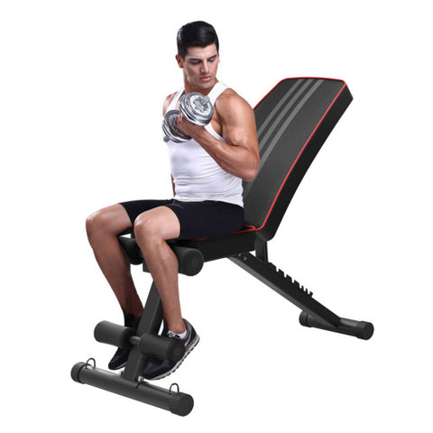 Weight Bench, Adjustable Strength Training Bench for Full Body Workout, Foldable Flat/Incline/Decline FID Bench Press for Home Gym - Sculptcha