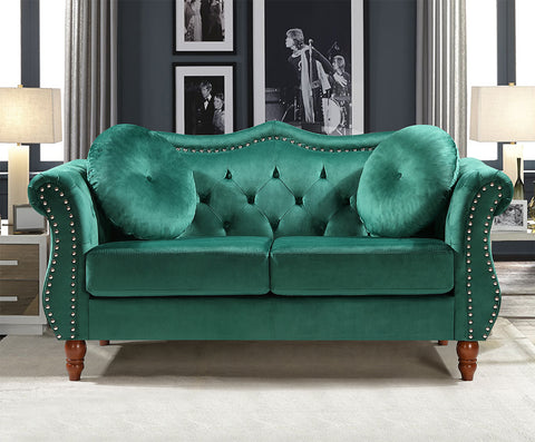 velvet chesterfield sofa green