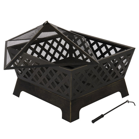 "26.4"" Fireplace Backyard Wood Burn Heater Steel Bowl Star Patio Fire Pit Outdoor"