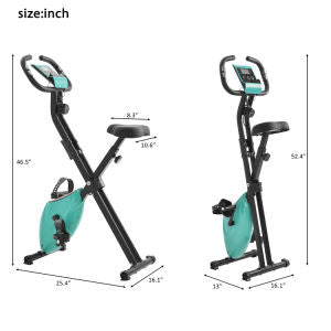 Folding Stationary Upright Indoor Cycling Exercise Bike with Resistance Bands - Home Gym
