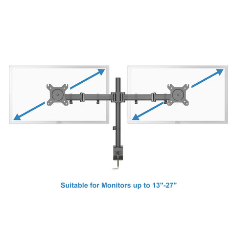 "Dual LCD LED Monitor Desk Mount Heavy Duty Fully Adjustable Fits 2/Two Screens up to 27"" for Home and Office"