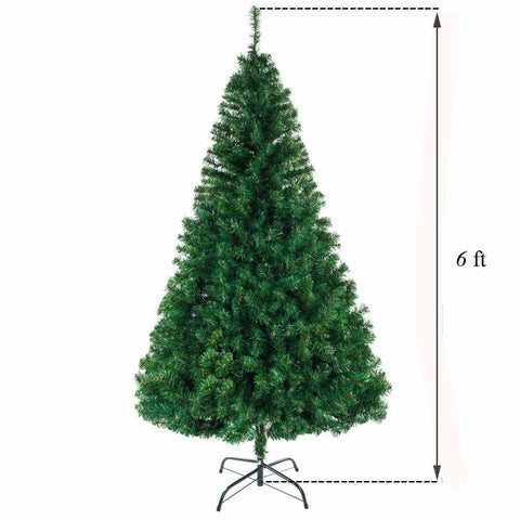 6ft 1050 Branch Christmas Tree Folding Metal Christmas Tree Stand, Xmas Pine Tree for Indoor Outdoor Holiday Decoration