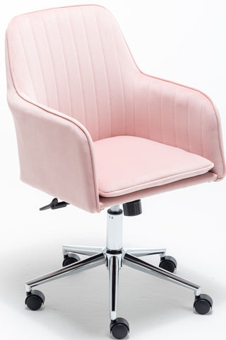 Home Office Chair with Middle Back, Modern Design Velvet Desk Task Chair with Arms in Study Bedroom - Pink, Blue, Grey