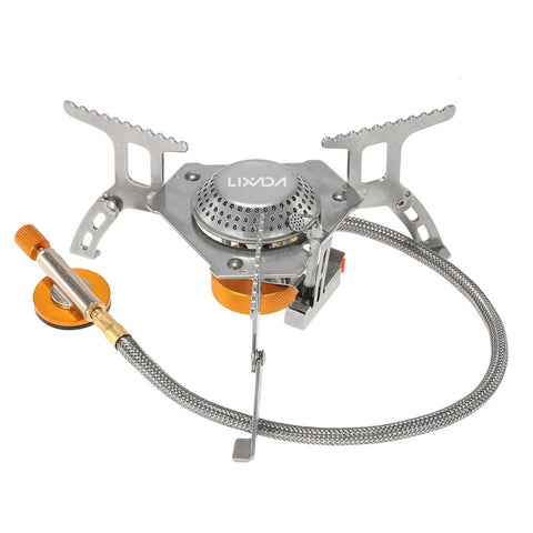 Camping Cookware 3000W Folding Mini Pocket Outdoor Stove Gas Stove Split Burner with Gas Conversion Head Adapter