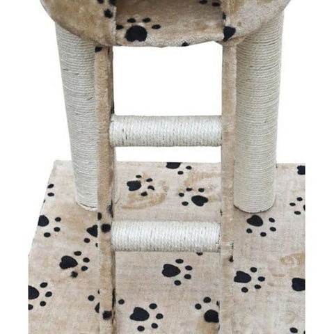 "Cat tree 90""-102"" Beige with Paw Prints Plush Cat house apartment furniture kitten activity tower pet cat game house with grabbed column hammock"