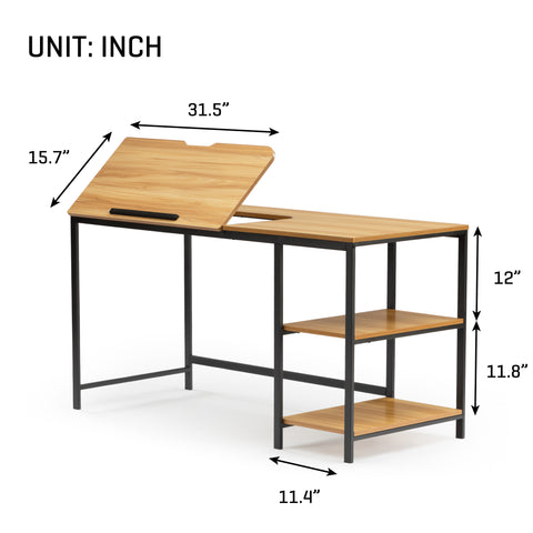 Drawing Table with Adjustable Tiltable Tabletop Multi-Function Office Desk Artist Craft Workstation for Painting