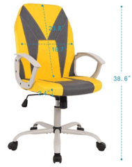 Smugchair Office Gaming Desk Chair, Computer Chair, Ergonomic Executive Chair with Armrests, Yellow
