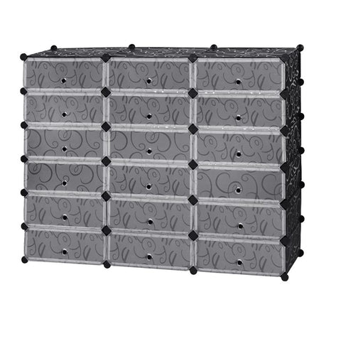 6-Tier 18 Cubes Shoe Rack Modular Shoes Storage Organizer Plastic Cabinet Drawer  with Doors