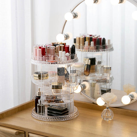 Makeup Organizer 360 Degree Rotating Cosmetic Jewelry Storage Box Case Holder - Sculptcha