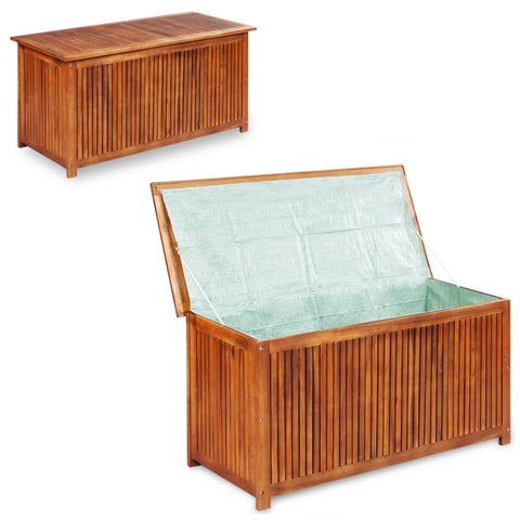 Deck Box in Acacia Wood with a water-repellent Tarpaulin , Wooden Patio Storage Box - Sculptcha