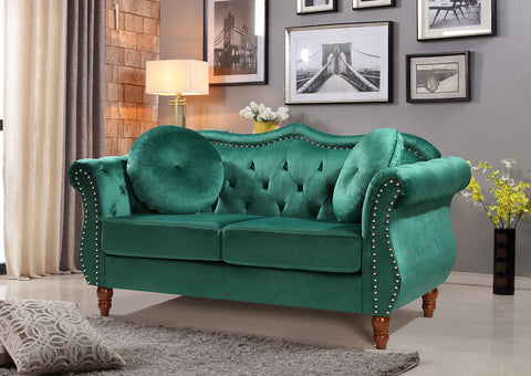 Velvet Chesterfield Loveseat Lounge Sofa, Emerald Green 64.7""