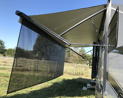 RV Awning Sun Shade 8'X15'3'' Black Mesh Screen Sunshade UV Blocker Complete Kits - Sculptcha