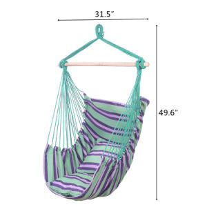 Hanging Rope Hammock Chair Swing Seat, Cotton Canvas Hanging Chairs for Bedrooms, Porch Outdoor with 2 Pillows - Sculptcha