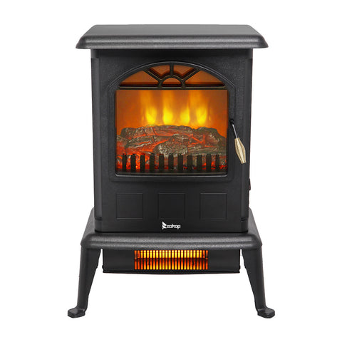Electric Fireplace Stove Space Heater 1500W Portable Freestanding with Thermostat, Realistic Flame Logs Vintage Design for Corners - Sculptcha