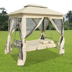 2-Person Gazebo Swing Chair Patio Daybed with Canopy - Sculptcha