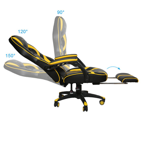 Yellow Massage Gaming Chair Office Chair High Back Computer Chair PU Leather Desk Chair PC Racing Task Chair