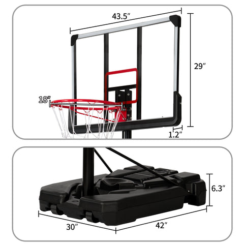 Portable Basketball Hoop & Goal, Outdoor Basketball System with 6.6-10ft Height Adjustment for Youth, Adults