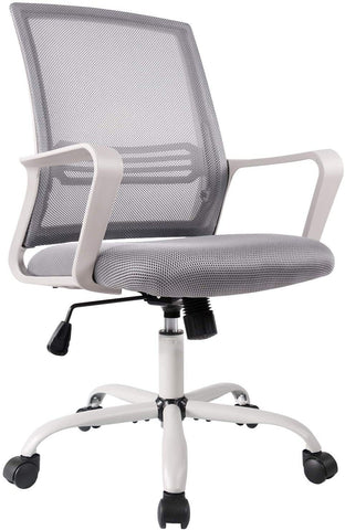 Smugdesk Office Chair, Mid Back Mesh Office Computer Swivel Desk Task Chair, Ergonomic Executive Chair with Armrests, Grey White