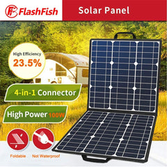 100W 18V Portable Solar Panel, Foldable Solar Charger Compatible with Portable Generator, Smartphones, Tablets and More