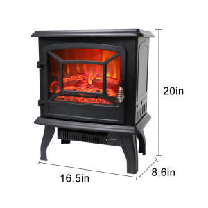 "17""  Electric Fireplace Heater - Freestanding Portable  Fireplace With Realistic Log Flame, Black 1400w"