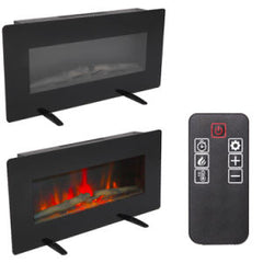 36 Inch Fireplace Heater Electric Wall Mount & Free Standing With Small Remote Control Black, 400W Adjustable Glass