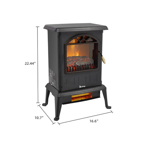 Electric Fireplace Stove Space Heater 1500W Portable Freestanding with Thermostat, Realistic Flame Logs Vintage Design for Corners