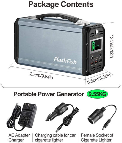 300W Solar Generator, 60000mAh Portable Emergency Power Station Camping Portable Generator, CPAP Back-up Battery