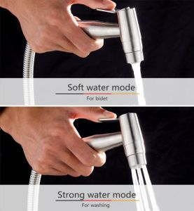 CIENCIA Handheld Bidet Sprayer Premium SUS304 Stainless Steel Sprayer Shattaf - Only Bidet Spray Head For Toilet, Water Toilet Cleaning Attachments, Brush Nickel WS024A - Sculptcha