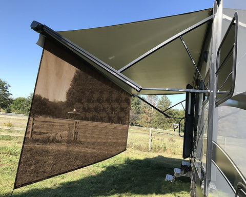 RV Awning Sun Shade 8'X15'3'' Black Mesh Screen Sunshade UV Blocker Complete Kits