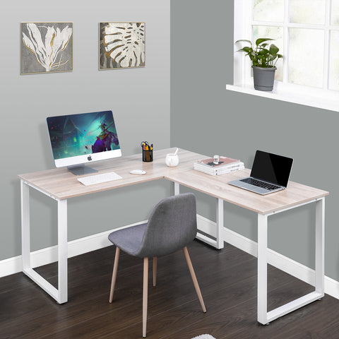 L Shaped Large Corner PC Laptop Study Table Workstation Gaming Writing Desk for Home Office, Oak Sculptcha