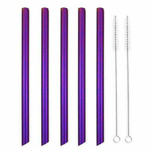 La Maison du Bambou Violet Lot de 5 pailles en acier inoxydable à smoothie diamètre large : 12mm
