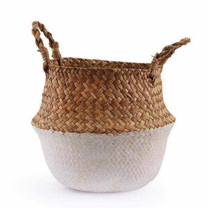 La Maison du Bambou White / 22cmX20cm Seagrass Belly Storage Basket Straw Basket Write Wicker Basket Storage Bag White Garden Flower Pot Planter Handmade