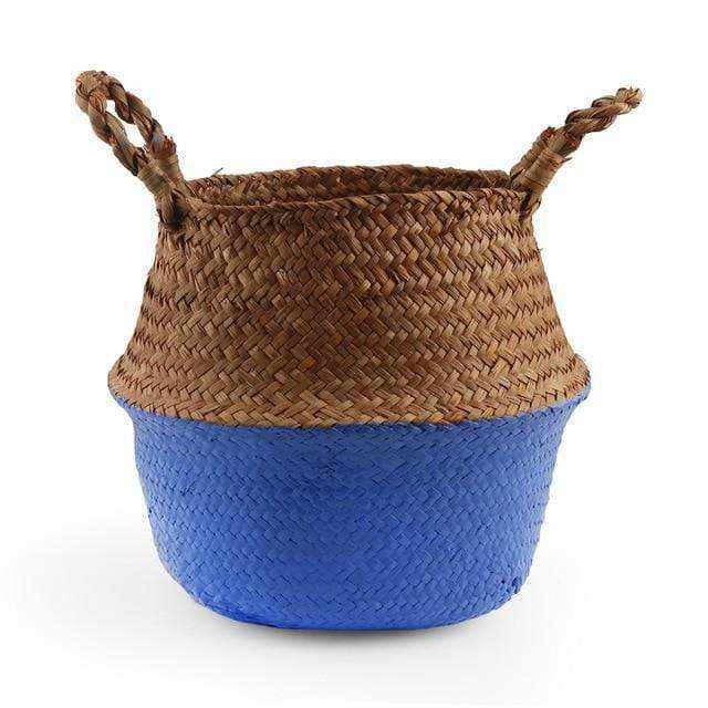 La Maison du Bambou Cobalt blue / 22cmX20cm Seagrass Belly Storage Basket Straw Basket Write Wicker Basket Storage Bag White Garden Flower Pot Planter Handmade
