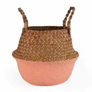 La Maison du Bambou Flesh Tint / 22cmX20cm Seagrass Belly Storage Basket Straw Basket Write Wicker Basket Storage Bag White Garden Flower Pot Planter Handmade