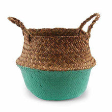Charger l'image dans la galerie, La Maison du Bambou Emerald Green / 22cmX20cm Seagrass Belly Storage Basket Straw Basket Write Wicker Basket Storage Bag White Garden Flower Pot Planter Handmade