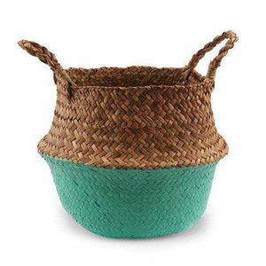 La Maison du Bambou Emerald Green / 22cmX20cm Seagrass Belly Storage Basket Straw Basket Write Wicker Basket Storage Bag White Garden Flower Pot Planter Handmade