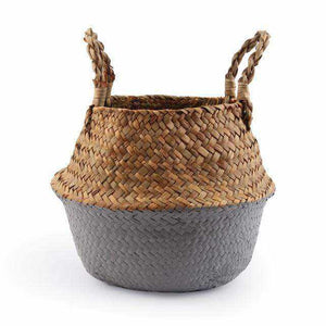 La Maison du Bambou Grey / 22cmX20cm Seagrass Belly Storage Basket Straw Basket Write Wicker Basket Storage Bag White Garden Flower Pot Planter Handmade