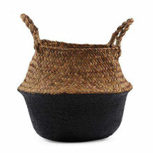 Charger l'image dans la galerie, La Maison du Bambou Black / 22cmX20cm Seagrass Belly Storage Basket Straw Basket Write Wicker Basket Storage Bag White Garden Flower Pot Planter Handmade